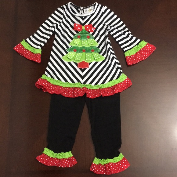 Rare Editions Red White Striped Christmas Tree Tutu Pant Set  2T or 4T